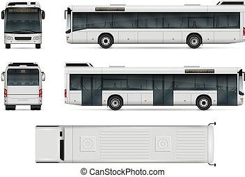 cidade, vetorial, modelo, autocarro