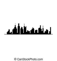cidade, vetorial, silhueta silhueta
