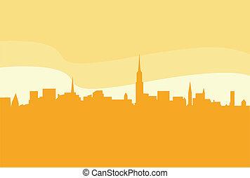 cidade, vetorial, silueta