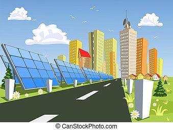cidade, vetorial, solar, painéis