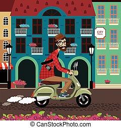 cidade, viagem, scooter