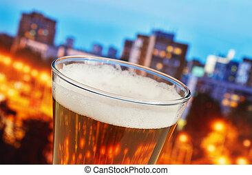 cidade, vidro cerveja, noturna