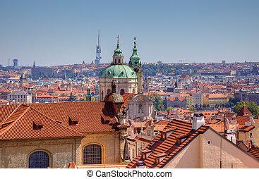 cidade, vista, tcheco, antigas, Praga