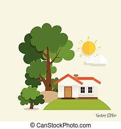 cidade vivendo, eco, concept., ilustração, vetorial, verde