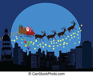 cidade, voar, claus, deers, silhuetas, santa