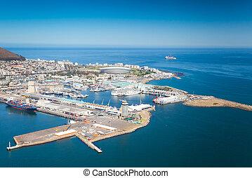 cidade, waterfront, vista, aéreo, capa