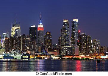 cidade,  York,  Manhattan, Novo, anoitecer