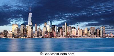 cidade,  York, noturna, Novo,  Skyline,  Manhattan
