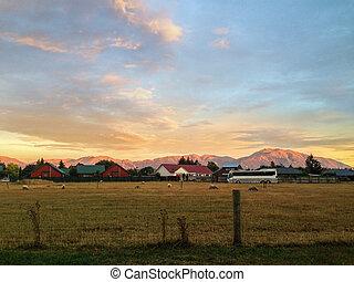 cidade, zelândia, ilha, methven, novo, durante, canterbury, pôr do sol, sul