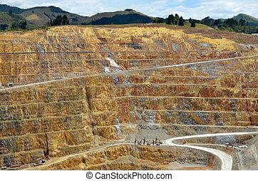 cidade, zelândia, ouro, -, mina, waihi, novo