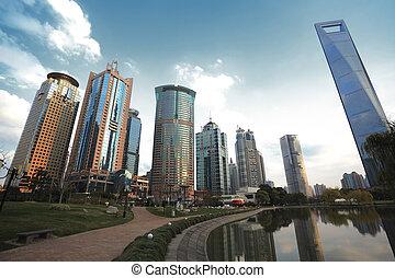 cidade, zona,  finance&trade,  lujiazui,  Shanghai, marco, paisagem