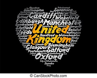 cidades, cidades, reino, lista, unidas