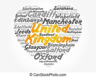 cidades, reino unido, lista, cidades