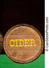 Cider - A cider barrel in local farmers market, Washington...