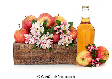 Cider bottle with gala apple variety and spring flower blossom in a rustic wooden box isolated over white background.