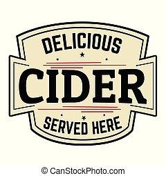 Cider label or sticker