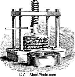 Cider Press vintage engraving - Cider Press, vintage ...