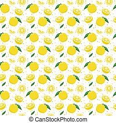 cidra, ilustración, patrón, fruta, aislado, yuzu, seamless, fondo., vector, blanco, japonés