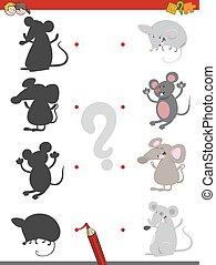 cień, gra, z, mice