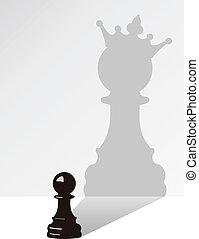 cień, wektor, szachy, zastaw