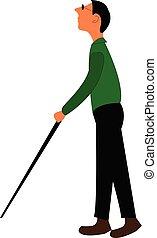 cieco, camminare, suo, aiuto, colorare, illustrazione, disegno, vettore, bastone, solo, o, uomo