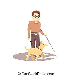 cieco, cane, -, isolato, compagno, persona, fondo, bianco, passeggiata, guida, uomo