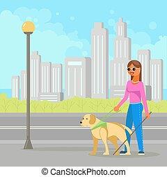 cieco, donna, cane, illustrazione, vettore, guida