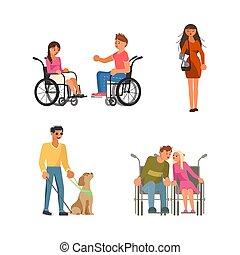 cieco, invalido, set, persone, carrozzella