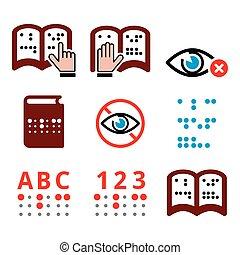 cieco, persone, braille, scrittura