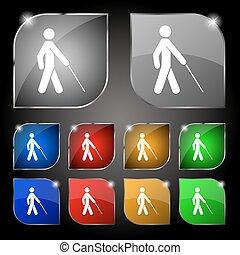 cieco, set, colorito, dieci, segno., glare., bottoni, vettore, icona