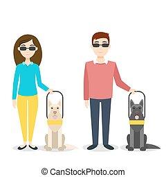 cieco, vettore, person., illustrazione