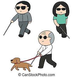 cieco, vettore, set, persone