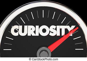 ciekawość, poziom, ilustracja, miara, zainteresowanie, ciekawy, szybkościomierz, 3d