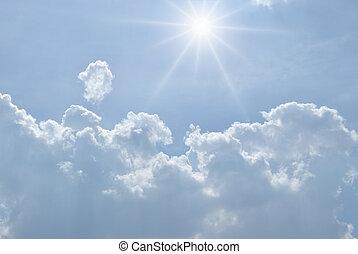 ciel, à, nuages blancs, et, soleil