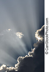ciel, à, rayons soleil, à, crépuscule