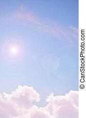ciel, à, rose, nuages, et, soleil