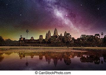 ciel étoilé, au-dessus, wat, temple, angkor