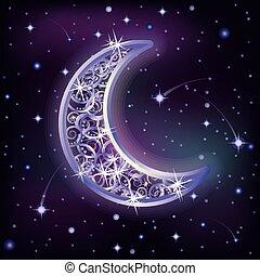 ciel, étoilé, illustration, lune, vecteur, nuit, argent