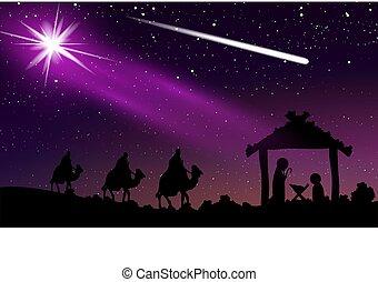 ciel étoilé, jésus, nuit, comète, noël