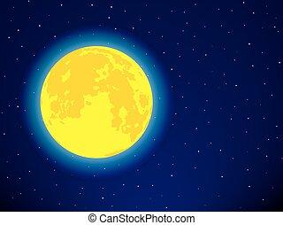 ciel étoilé, lune
