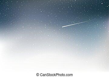 ciel, étoile filante, gentil, nuit