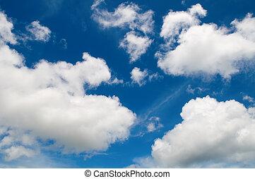 ciel, aimer, nuageux, coton