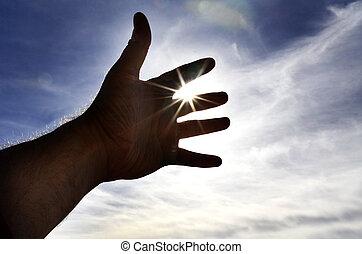 ciel, atteindre, lumière soleil, main, vers, personne
