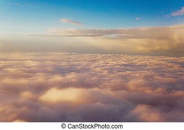 ciel, avion, intérieur, paysage, coucher soleil, nuages