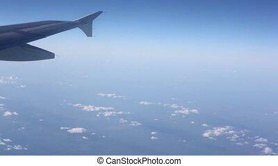 ciel, avion, pointe, aile