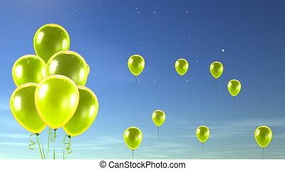 ciel, ballons, haut, jaune