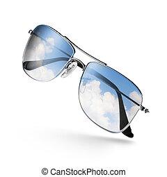 ciel, blanc, lunettes soleil, reflet, isolé
