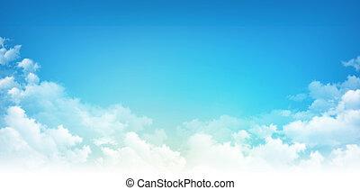 ciel blanc, nuages, bleu