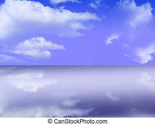 ciel bleu, à, réflexions