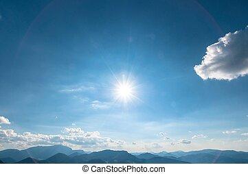 ciel bleu, à, soleil